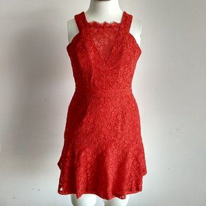 Adelyn Rae Red Lace Fit and Flare Dress M